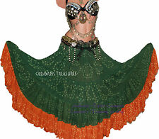 Green Orange Jaipur Tribal Skirt Gypsy Tribal Fusion Belly Dance 25 yd skirt