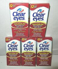 5PK Clear Eyes Maximum Redness Dryness Relief 0.5 oz Each Exp 4/21-01/22