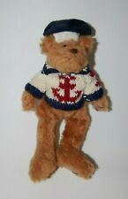 """Vintage Small Sailor Stuffed Teddy Bear Plush Toy With Cable Knit Sweater 9 1/2"""""""