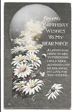 """Vintage """"Loving Birthday Wishes to my Niece"""" Card, Early 20th c, 5 Available"""