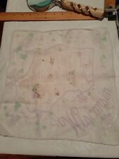 Vintage Souvenier Wisconsin Handkerchief Violets Cities State