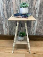 Hand-painted cream solid oak side table (Rustic/Farmhouse/Country/Coastal)