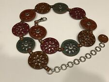 Fossil Belt Sz Small Laser Cut Leather Medallion Disc Chain Multi-Color