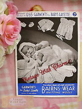 Large Print Vintage Knitting Pattern 1940s Baby's Layette Shawl Dress Etc.