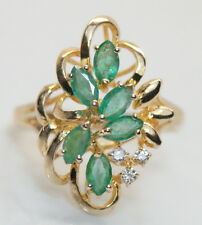 Lovely14K Yellow Gold 1.06 TCW Diamond & Emerald Cocktail Ring