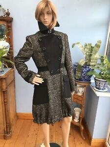 Karen Millen Black & White Wool Blend Mid Length Jacket Coat Size 12