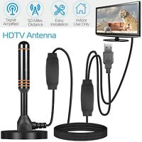50 Mile 1080P HD Digital Indoor Amplified TV Antenna HDTV with Amplifier VHF/UHF
