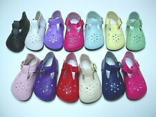 """Doll Shoes, 85mm WHITE T-Straps for Chatty Cathy My Twinn Toddler Baby 20"""""""