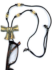 Handmade Eyeglasses Sunglasses Holder Adjustable necklace Gold and Silver Bow