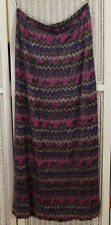 "CRESTA Vintage 1960s-70s Long Maxi Skirt UK18 W32"", L41"" Metallic Zigzag Chevron"