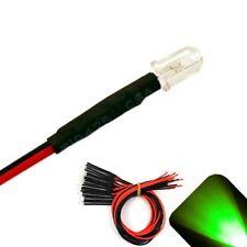 5 x Pre wired 12v 5mm Pure Green LEDs Prewired 12 volt LED Car 11v 13v 14v 15v