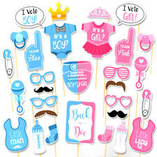 30PCS Baby Shower Gender Reveal Party Supplies Boy or Girl Photo Booth Props AU