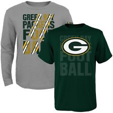 Youth Green Bay Packers Playmaker Long And Short Sleeve T-Shirt Combo Pack