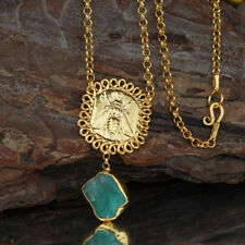 Sterling Silver Bee Coin Necklace w/ Apatite 24k Gold Plated Handcrafted by Omer