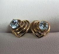 Aquamarine & 9ct Gold Heart Earrings. Top Quality. xdeo.