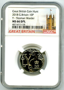 2018 10P GREAT BRITAIN ' Y '- YEOMAN WARDER NGC MS66 DPL BRITISH COIN HUNT