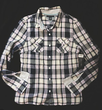NWT TOMMY HILFIGER NAVY/LILAC PLAID ROLL-UP SLEEVES BUTTON DOWN SHIRT SIZE M