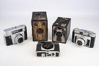 Lot of 5 Antique Film Cameras Kodak Tower Agfa Zeiss Ikon PARTS OR REPAIR V11