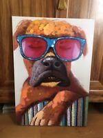 Tableau « Chien aux lunettes » huile sur toile signée par l'artiste..