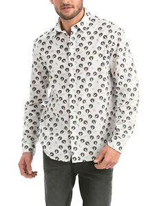 Desigual Abstract White Graphic Printed Flip Cuffs Men's S M L XL Brnd New Shirt