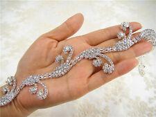 Splendido Diamante Rhinestone BRIDAL APPLIQUE Trim Perline Motif WEDDING APPLIQUE