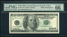 "Fr. 2175-H 1996 $100 Frn ""Offset Printing Error� Pmg Gem Uncirculated-66Epq"