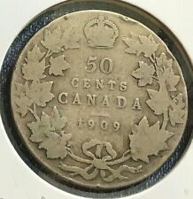 *REDUCED PRICE'   CANADA 1909  50 CENT  SILVER COIN FROM A HUGE COLLECTION