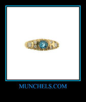 SOLID 14K YELLOW GOLD DIAMOND & LONDON BLUE TOPAZ RING