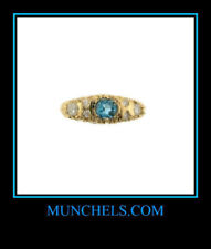 SOLID 14K YELLOW GOLD DIAMOND & LONDON BLUE TOPAZ RING