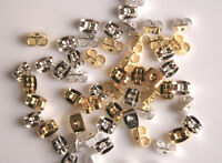 100-200 Pack Earring Back Butterfly Ear Nut Gold or Silver PLATED 5mmx3.5mm