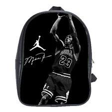 Michael Jordan Reprint Sign Leather School Backpacks Laptop Book Bags Men Women