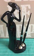 VINTAGE ART DECO STYLE BLACK LADY PORCELAIN DOUBLE PEN HOLDER - DESKTOP