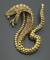 Large  Snake Brooch in gold Tone Metal with  Crystals
