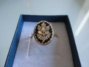 Ring 333er/ 8kt Gold Ring mit Kamee ? Blumenmuster
