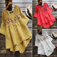 ZANZEA 8-24 Women Short Sleeve Floral Embroidered Top Tee T Shirt V Neck Blouse