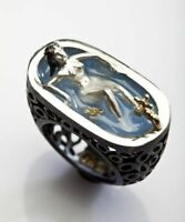 Sexy Women 925 Silver Bathing Mermaid Wedding Ring Party Gift Jewelry Size 6-10