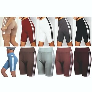 Ladies Womens Shorts Cycle Gym Running Yoga Run Leggings Stretch Striped NEW
