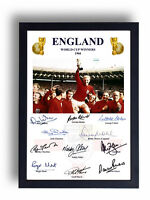 FULLY SIGNED ENGLAND 1966 WORLD CUP FINAL PRINT BOBBY MOORE GORDON BANKS