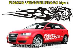 Adesivo DRAGO FIAMMANTE fiamma auto camion barca car flaming dragon stickers