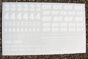 SLOT CAR 1/32nd scale 'ELF' stickers decals white ink on clear, fits SCALEXTRIC