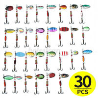 30Pcs Metal Fishing Lures Spinners Plugs Fish Bait Pike Trout Salmon Tackle Set