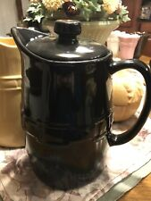 Longaberger Pottery Woven Traditions Black Coffee Carafe Pot Euc