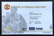 Manchester United v Man City 2006-2007 Private Box ticket
