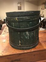 Antique Primitive Large Green Painted Firkin- Sugar Bucket- 3 Fingerlap