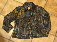 RUBY RD. FAVORITES JACKET SHELL BROWN BLUE TAN ANIMAL 8 M LEOPARD SHIMMER NEW