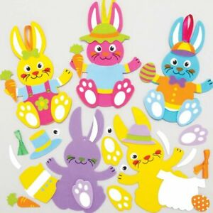 Easter Bunny Dress Up Egg Decoration Kits Kids Crafts Creative Activity 4 Pack