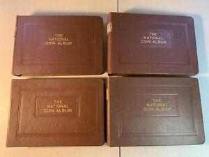 4 EMPTY National Coin Album Cents 1909-1946 Dimes 1916-1962 Quarters 1932-1940