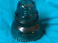 Vintage Hemingray No. 40 Blue-Green Aqua Glass Railroad Telegraph Insulator nice
