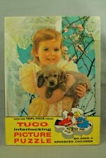 vintage old Tuco Puzzle cute Little Girl Puppy dog