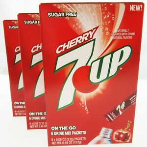7up Cherry ~ Packets ~ Sugar Free ~ Drink Mix ~ Lot of 3